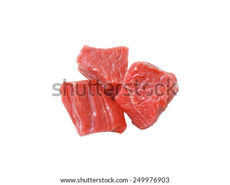 Raw beef cut into cubes