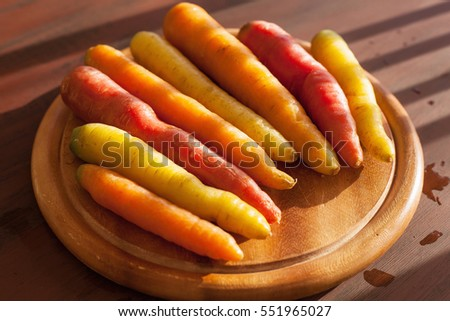 Raw Organic Rainbow Baby Carrots Ready Stock Photo