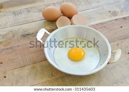 raw egg in pan ready for cook on wooden table