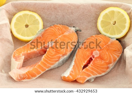Raw fresh salmon steaks on baking paper