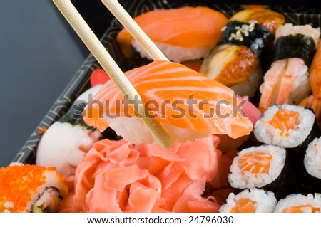 raw fresh sushi and rolls
