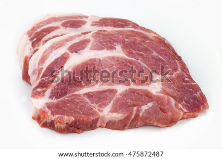 Raw meat, pork, slices pork on a white background