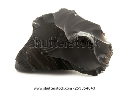 Raw obsidian on a white background