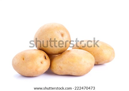 Raw Potato on white background with clipping path