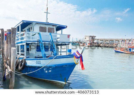 RAYONG, THAILAND - April 3 2016: Pier and boat shuttle tourists to the Samed island.