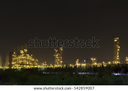 Rayong Thailand-December 24, 2016-PTT Global Chemical Public Company Limited .The tower in oil refinery industrial plant.Rayong Thailand