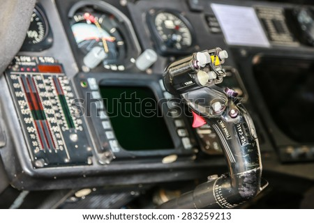 RAYONG , THAILAND- MAR 26, 2015: Inside Sikorsky UH-60 Black Hawk helicopter of royal thai navy standby in the hangar for maintenance. U-TAPAO Airport, Rayong