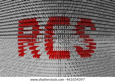 RCS in the form of binary code, 3D illustration