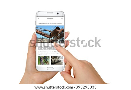 Reading news article on the isolated smart phone. Phone in hand, white background.