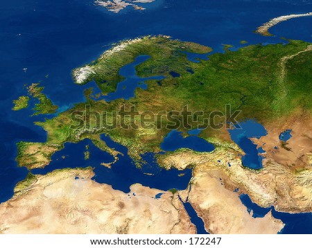 Europe Map Detailed Satellite View Earth Stock Illustration - Europe satellite map