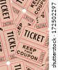 Real paper retro vintage tickets for movies, cinema, raffle event or performance. Background sample image. - stock photo