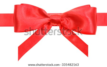 real red satin bow with vertically cut ends on ribbon close up isolated on white background
