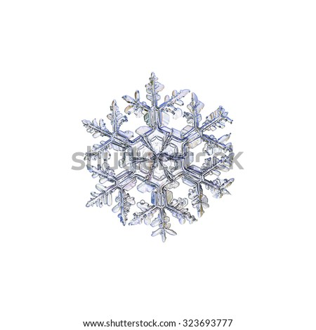 Real snowflake photo, bright variant, isolated on white background