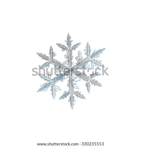 Real snowflake photo (medium size stellar dendrite crystal), isolated on white background