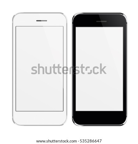 Realistic black and white mobile phones with blank screen isolated on white background. 3D illustration.