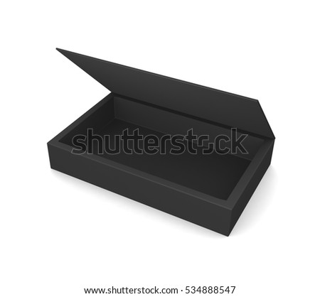 Realistic black open box isolated on a white background. 3d illustration