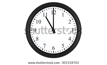 Realistic 3D render of a wall clock set at 11 o'clock, isolated on a white background.