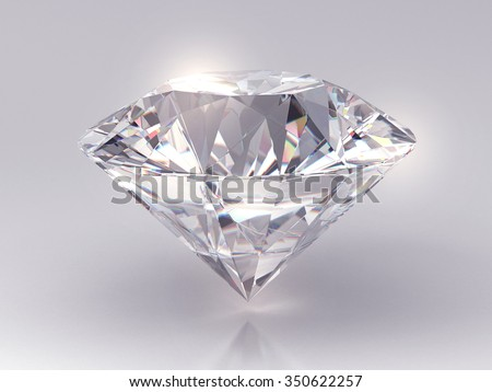 Realistic diamond on gradient background with light reflection, 3d illustration.