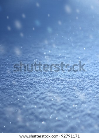 Realistic snowfall real snow flakes falling blue white winter background