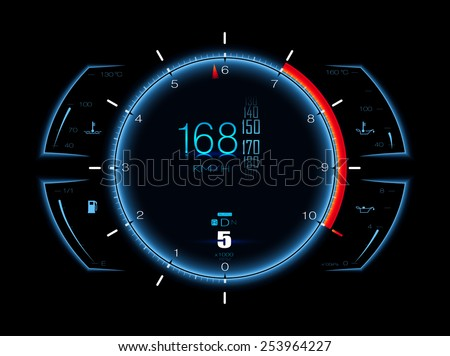 Realistic sports car speedometer