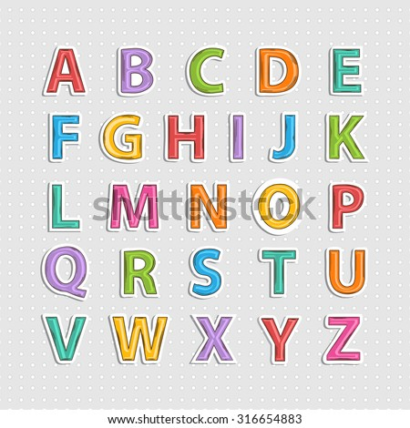 Realistic sticker  colorful  alphabet letter  with shadow.Doodle.Hand Drawn