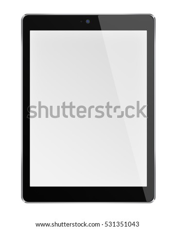 Realistic tablet computer with blank screen isolated on white background. 3D illustration.