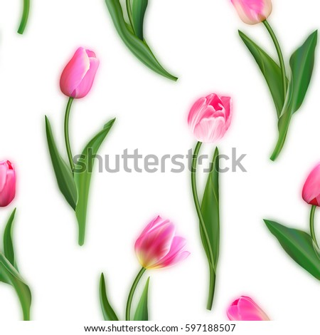Realistic Tulips Vector Seamless Pattern Repeating Stock ...