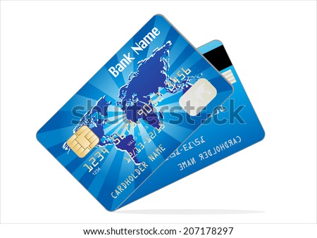 Realistic vector Credit Card two sides