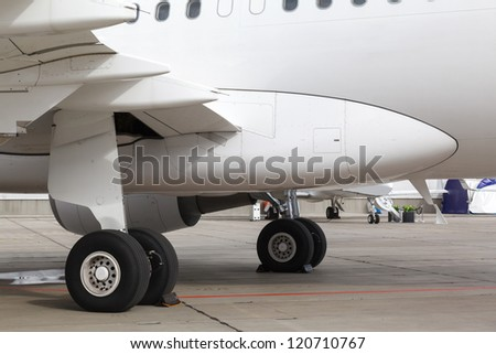 rear landing gear and jet engine passenger plane on ground