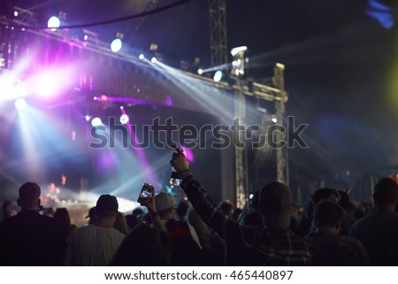 Rear View Of Audience Enjoying Music Festival
