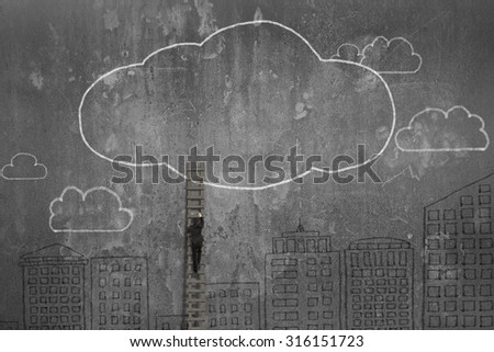 Rear view of businessman climbing wooden ladder toward clouds hand-drawn on concrete wall.