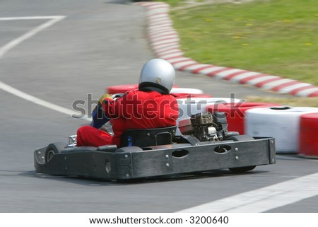 Rear view of go karting