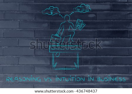 reasoning vs intuition in business: businessman overcoming obstacle by elaborating creative thoughts (right side of his brain) and analytical reasonings (his left side)
