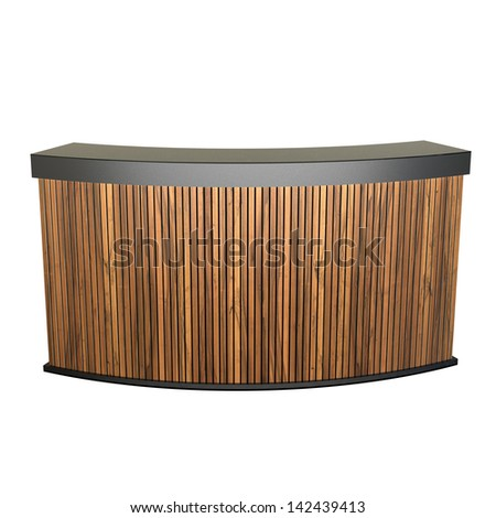 reception counter made of wooden planks isolated on white
