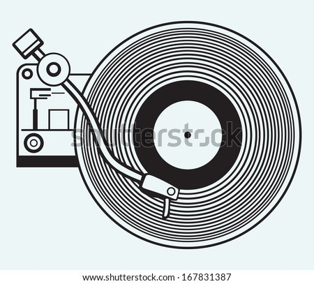 Record player vinyl record isolated on blue background. Raster version