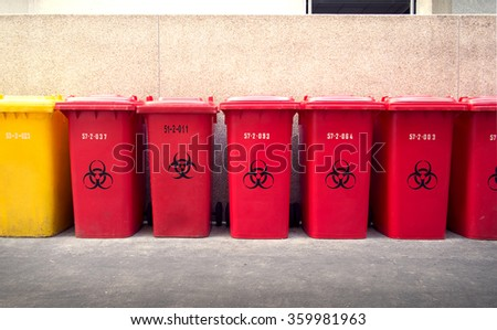 Recycle garbage bins, yellow and red