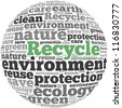 Recycle info-text graphics and arrangement concept on white background (word cloud) - stock