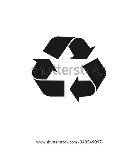 Recycle sign in white color - isolated.