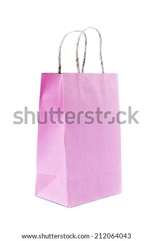 Recycled  Shopping Pink  paper bag on white background .