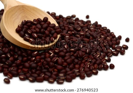 Red adzuki beans on white