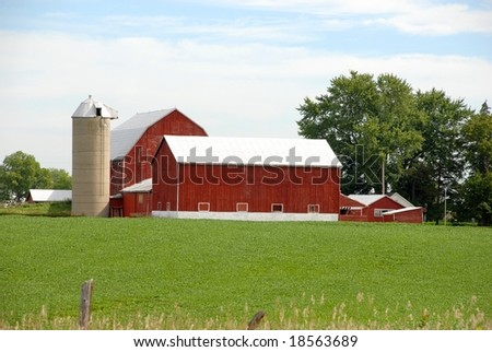 red agricultural buildings