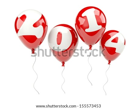 Red air balloons with 2014 New Year sign