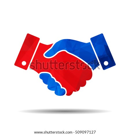 red and blue triangular polygonal handshake icon. design for business and finance concept