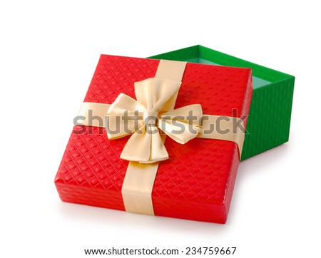 Red and green open empty christmas gift box, clipping path.
