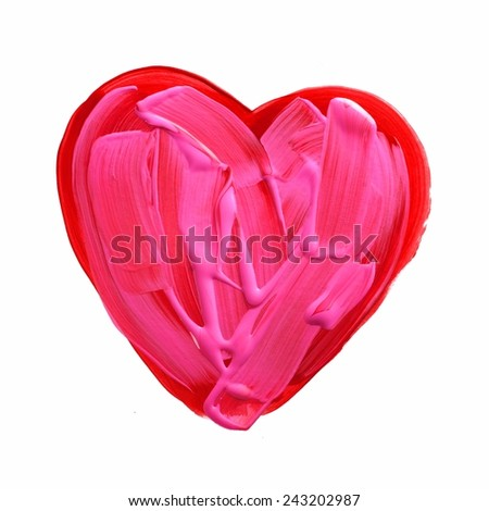 Red and pink painted acrylic heart isolated on white