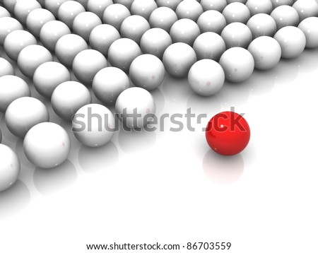 Red and white spheres, 3d render illustration