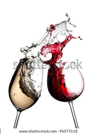 Red and white wine splash from two wineglasses