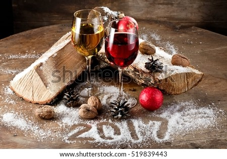 Red and white Xmas 2017 wine
