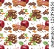 Red apple and chocolate. Watercolor pattern. - stock photo