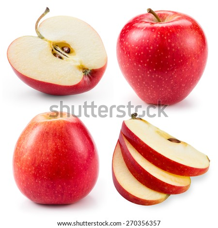 Red apple.Whole, half and slice isolated on white. Collection.